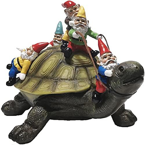 Muse Design Garden Gnome Turtle Statues Yard Art Resin Figurine Decorations Outdoor Garden Décor