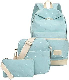 Heall Teens Rucksack Set Leinwand-Tupfen-Schultasche Set für Mädchen Jungen 3 in 1 Back Pack Light Green 1Set Bürobedarf