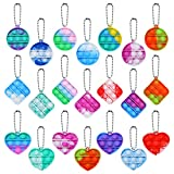 MEIEST 21 PCS Mini Pop Bubble Fidget Sensory Toy, Simple Silicone Rainbow Stress Relief Hand Toy,Squeeze Key-Chain Toy for Adults and Kids,Colorful Anti-Anxiety Office Desk Toys(3 Shapes)