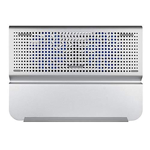 Fransande - Refrigerador para ordenador portátil, aluminio, dos ventiladores, para ordenador portátil, plegable, alto rendimiento para ordenadores portátiles de hasta 17 pulgadas