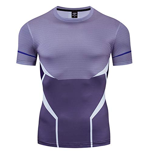 COJETER Purple Pull-Over Fitness Camisetas para Hombres Compresi¨n Deportiva Manga Corta Fitness Superh¨¦roes Shirt
