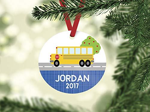 None-brands Christmas Ornament 2020 School Bus Christmas Ornament, ceramic Ornament, bus driver ornament, school bus ornament, personalized ornament, school bus driver gift Xmas Tree Ornament
