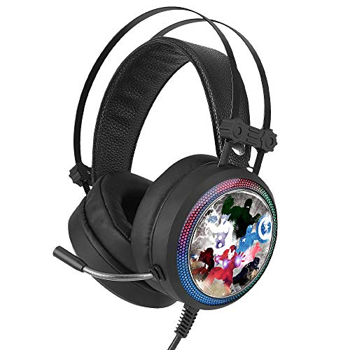 ERT GROUP Avengers Kopfhörer, Gaming Headset mit Mikrofon, Over Ear Kopfhörer mit Verstellbarem Kopfbügel, 2,2 m USB Headset, LED - Ohrmuscheln mit Marvel Design