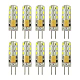 Rayhoo 10pcs G4 LED Bulb Bi-Pin Base Light Lamps 1.5 Watt AC DC 12V/10-20V Equivalent to 10W T3 Halogen Track Bulb Replacement 360° Beam Angle(White 5800-6200K)
