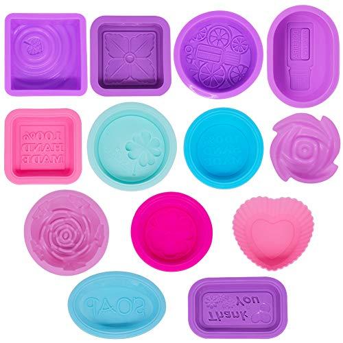 13 Moldes de Silicona para Hacer Jabón, Molde de Jabón Reutilizable, para Cupcakes, Chocolate, Muffins, Postres, Velas, Manualidades, Rectangulares, Cuadrados, Redondos, Ovalados