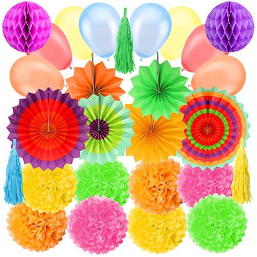 Koogel 27 Stück Party Dekoration Set, Seidenpapier Pompom Blumen Bunte Papier Fächer Quaste Girlande für Party Hochzeit Geburtstag Festival Zeromonie Deko