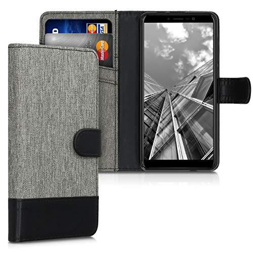 kwmobile Wallet Hülle kompatibel mit Wiko Y60 - Hülle Kunstleder mit Kartenfächern Stand in Grau Schwarz