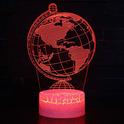 LED Night Light with Globe Earth Pattern,7 Colors Changing with USB Cable,Touch Remote Control, Best for Children Gift Baby Bedroom and Party Decorations.