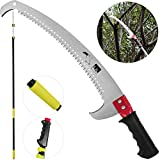 Happybuy Telescopic Pole Saw 6-24 Foot Extendable Telescopic Landscaping Pole Saw with 2-Foot Saw Blade For Pruning and trimming Branches and Leaves (6-24 Feet)