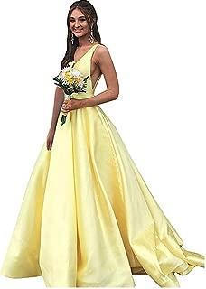 Women's V Neck Prom Dress Long A line Ball Gown W/ Pockets