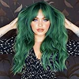 ANDRIA Green Wig with Bangs Blue Color Wig Wet and Wavy Long Loose Curly Wave Synthetic Heat Resistant Fiber Black Ombre Green Hair Wig for Women 26 Inch