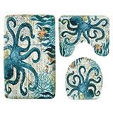HEWEI Sea Theme Memory Foam Alfombrilla de baño 3 Piezas Juego de alfombras de baño de Terciopelo Absorbente Tortuga Alfombra de baño Antideslizante Impresa Alfombrilla de baño Set de Tapa de Tapa