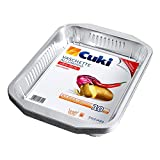 Cuki Vaschette Alluminio - Ultra Forza - Con Manici - 8 Porzioni - Rettangolari [Rs98G] - Formato Convenienza - 1 Confezione da 10 Pezzi