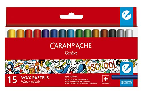 Caran d'Ache School Line Water-soluble Crayons, 15 Colors
