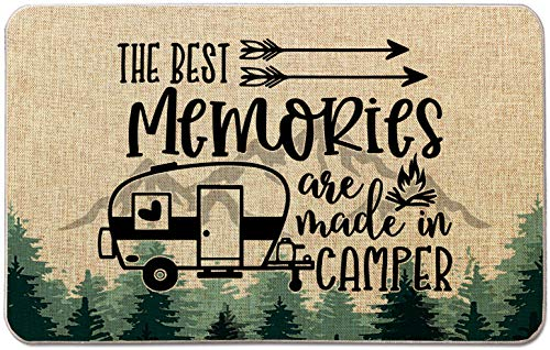 Occdesign Durable Burlap Camper Rug Mat -The Best Memories are Made in Camper Tree -Decorative Camp Doormat for Motorhomes,RV Camping -27.5X17 inches