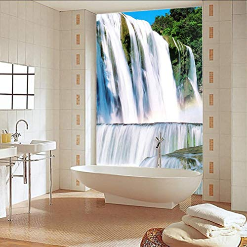 Ponana Benutzerdefinierte Selbstklebende Badezimmer Wandbild Tapete 3D Wasserfälle Badewanne WandaufkleberWasserdichte Wohnkultur Fototapeten 3 D-280X200Cm