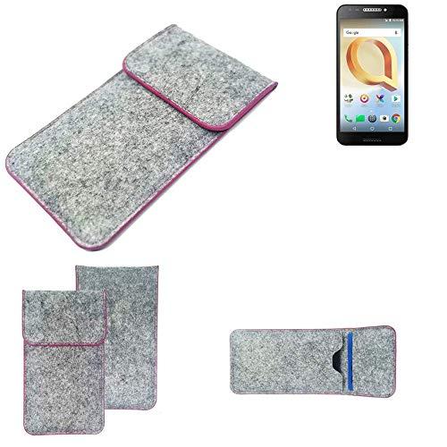 K-S-Trade Handy Schutz Hülle Für Alcatel A30 Plus Schutzhülle Handyhülle Filztasche Pouch Tasche Hülle Sleeve Filzhülle Hellgrau Pinker Rand