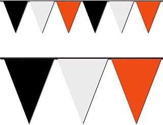 Ziggos Party Black, White and Orange Triangle Pennant Flag 100 Ft.