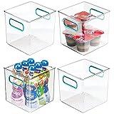 mDesign Juego de 4 cestas organizadoras para la cocina – Caja de plástico para el frigorífico...