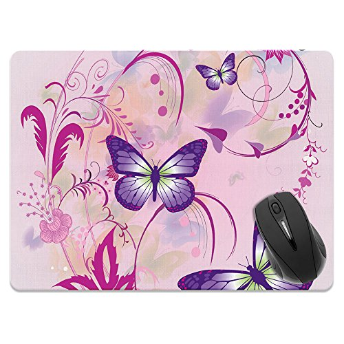 Extra Large (X-Large) Size Non-Slip Rectangle Mousepad, FINCIBO Purple Butterfly Pink Vines Mouse Pad for Home, Office and Gaming Desk