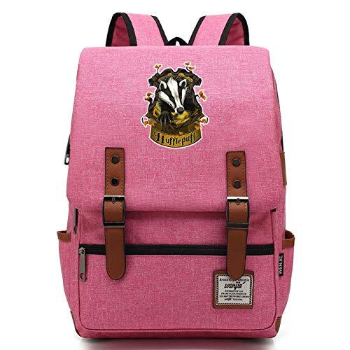 Bolsa de Libros para nios Impresin 3D Harry Potter Insignia Mochila Mochila de Escuela Secundaria para Estudiantes de 7~15 Grados Paquete Hufflepuff Pink
