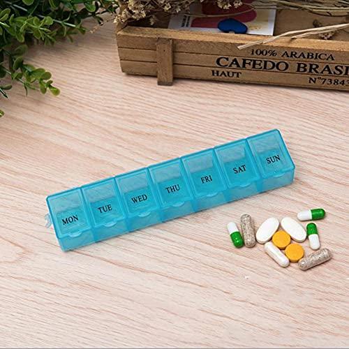Ruluti 1pcs 7 Rejilla 7 Días a La Semana Organizador Tableta Medicina Alojamiento del Dispensador De Plástico Caja De La Medicina De La Salud Divisor Herramienta Azul