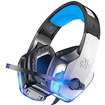 BENGOO V-4 Gaming Headset for Xbox One PS4 PC Controller Noise Cancelling Over Ear Headphones with Mic LED Light Bass Surround Soft Memory Earmuffs for PS2 Mac Nintendo 64 PS5 Games