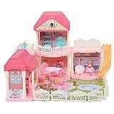 Dioche Casa de muñecas de 3 pisos, mini casa de muñecas DIY con accesorios y muebles, casa de muñecas de ABS para niños a partir de 3 años