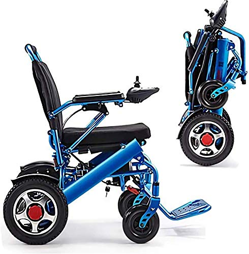 AGWa Cajolg Leichtklapp Elektro-Rollstuhl, 360 ° Joystick Lithium-Batterieleistung Transport Rollstuhl Stuhl, Elektro-Rollstühle für Erwachsene Senioren, Rollator Walker mit Sitz