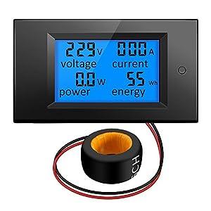 KKmoon Voltímetro de corriente LCD digital Amperímetro Voltaje KWh Multímetro Medidor de prueba 100A AC 80V-260V 20A / 100A 4 en 1 Panel Monitor de vatios de potencia digital