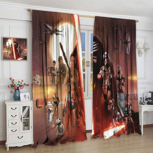 Cortinas decorativas Star Wars The Digital Six Film Collection para niños sala de estar habitación de los niños sala de estar dormitorio (63 x 72 cm)