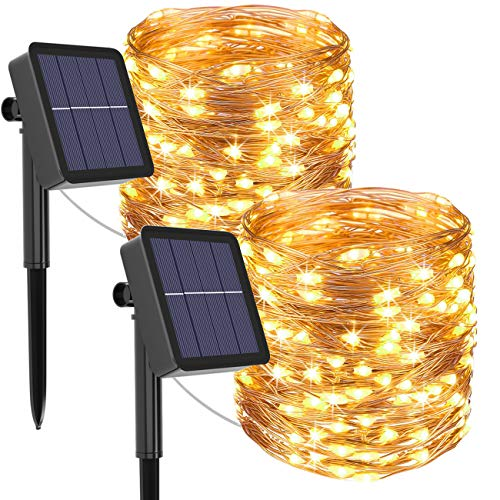 Solar String Lights Outdoor, 2Pack 240LED Total Solar Powered Fairy Lights 8 Modes Garden Copper Wire Waterproof Decoration Lighting for Tree Patio Christmas Camping Wedding Party(Warm White) …