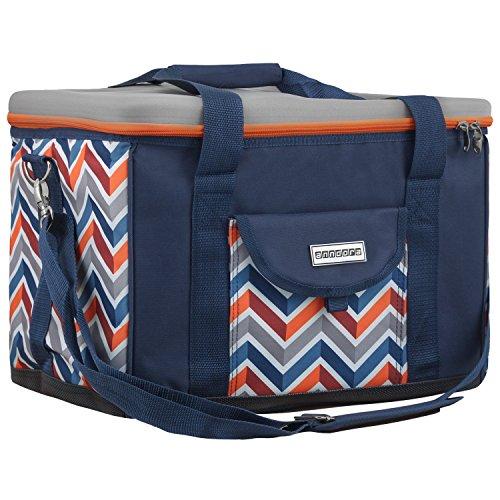 anndora Kühltasche XL dunkelblau orange 40 Liter - Kühlbox Isoliertasche Picknicktasche