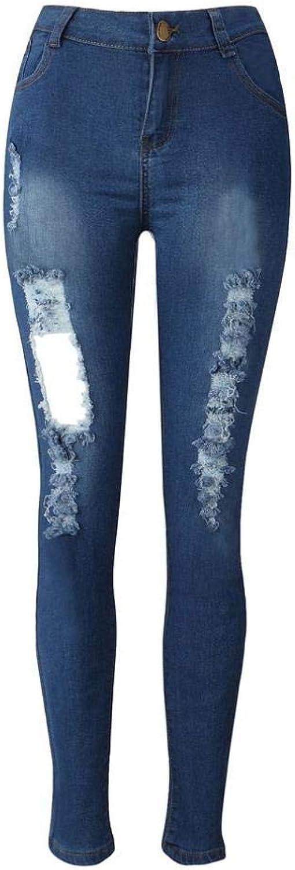 GouuoHi Womens Pants Women's Denim Skinny Jeans Stretch Pencil Pants Slim Long Designer Basic Stretch Jeans Regular Slim Hollow Denimpants (color   blue, Size   Mef1um)