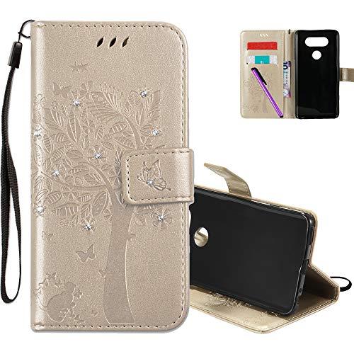 COTDINFOR LG V20 Hülle für Mädchen Elegant Retro Premium PU Lederhülle Handy Tasche mit Magnet Standfunktion Schutz Etui für LG V20 Gold Wishing Tree with Diamond KT.