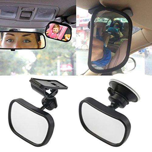 Rücksitzspiegel für Babys mit Saugnäpfe&Klammer CATUO Einstellbare Baby-Spiegel Bruchsicherer Auto-Rückspiegel, Spiegel Größe: 87*56mm, Schwarz