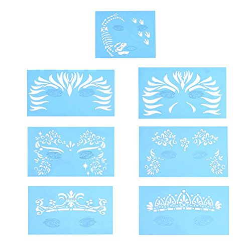 wosume Face Paint Stencil Body Painting Template Maquillaje facial Tatuaje Design Tools 7pcs/set