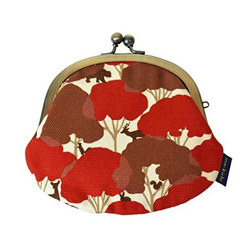 [亥之吉] inokichi 3.3寸丸がま口 和柄 和モダン コインケース 小銭入れ がま口 京都 日本製 財布 隠れん坊 動物柄 かくれんぼ-赤