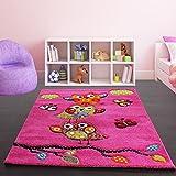 Paco Home Kinder Teppich Niedliche Eulen Pink Fuchsia Gruen Blau, Grösse:120x170 cm