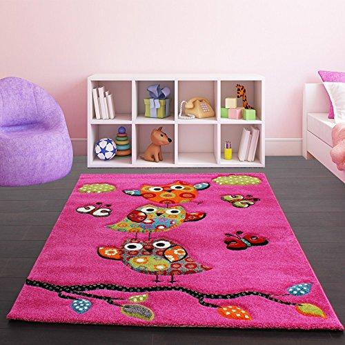 Paco Home Kinder Teppich Niedliche Eulen Pink Fuchsia Gruen Blau, Grösse:Ø 120 cm Rund