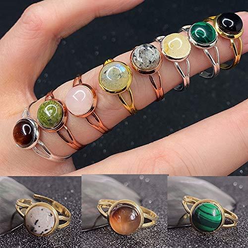 KEJI Anillo abierto de piedra natural para mujer hecho a mano joyería regalo cristal piedra lunar ojo de tigre, anillo ajustable