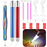 26 Pieces DIY Diamond Painting Pen Tools Kit Includes LED 5D Diamond Painting Pens, Handmade Resin Diamond Drill Pen, Replacement Pen Heads, Glue Clay for DIY Art Craft Supplies (Blue Purple Yellow)