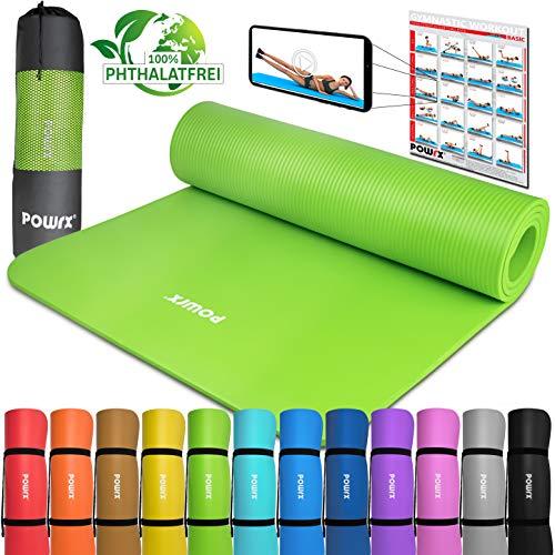 POWRX - Tappetino Fitness Antiscivolo 183 x 60 x 1 cm - Ideale per Ginnastica, Yoga e Pilates - Extra Morbido e Spesso - Ecocompatibile con Tracolla per Trasporto + PDF Workout (Verde Chiaro)