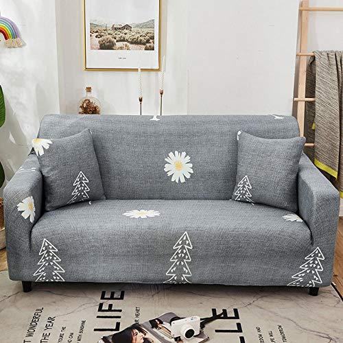 Funda de sofá Antideslizante de Poliéster Spandex Pequeña Margarita Estampado,Gris Funda elástica Antideslizante Protector Cubierta de Muebles para sofá de 3 plazas(1 Funda de Almohada)