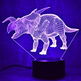 Loveboat Night Lights for Kids Dinosaur 3D Optical Illusion Bedside Lamp 7 Colors Changing USB Powered LED Table Lamp Best Birthday Gifts for Boys Girls Kids Baby (Avaceratops)