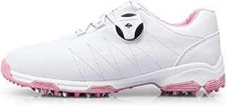 Women's Golf Shoes with Rotating Shoe Laces, Waterproof Golf Shoes Outdoor Anti-Skid Breathable Golf Shoes Sneakers,Pink,36