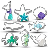 Bonropin Under the Sea Creatures Cookie Cutter Set - 8 Piece Stainless Steel Cutters Molds Cutters for Making Shark, Mermaid Tail, Seahorse, Starfish, Seashell, Octopus, Clownfish, Seal
