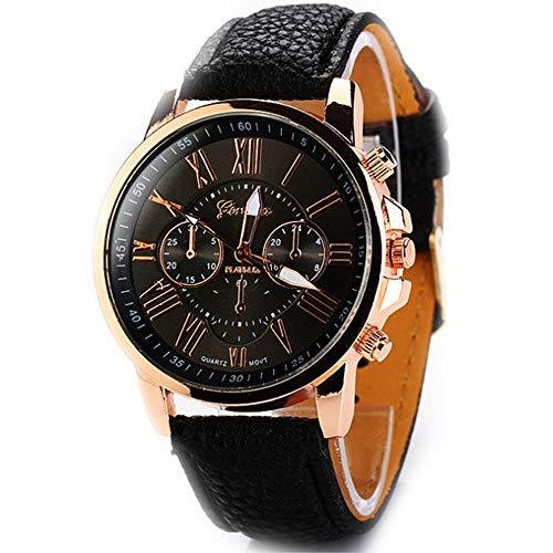 Elegante Mulheres Relógios De Quartzo Pu Couro Casual Relógio De Pulso Para Senhoras Senhora Relógios Relógios De Pulso Elegância (Preto)
