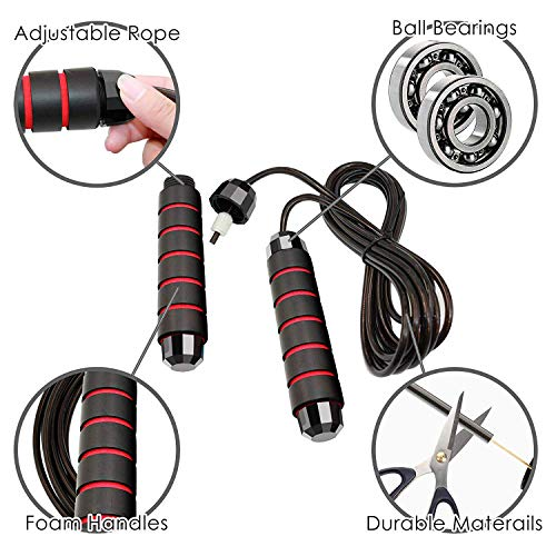 Jump Rope Tangle-Free Ball Bearing Fast Rope Skipping Adjustable Memory Foam Anti Skid Handle skipping rope New Fitness speed rope for Men and Women Suitable for Aerobic Exercise