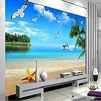 Ljjlm カスタムの大きなフレスコ画3Dブルービーチ風景テレビの背景不織布壁紙パペルデパレデパラカルト-420X280Cm